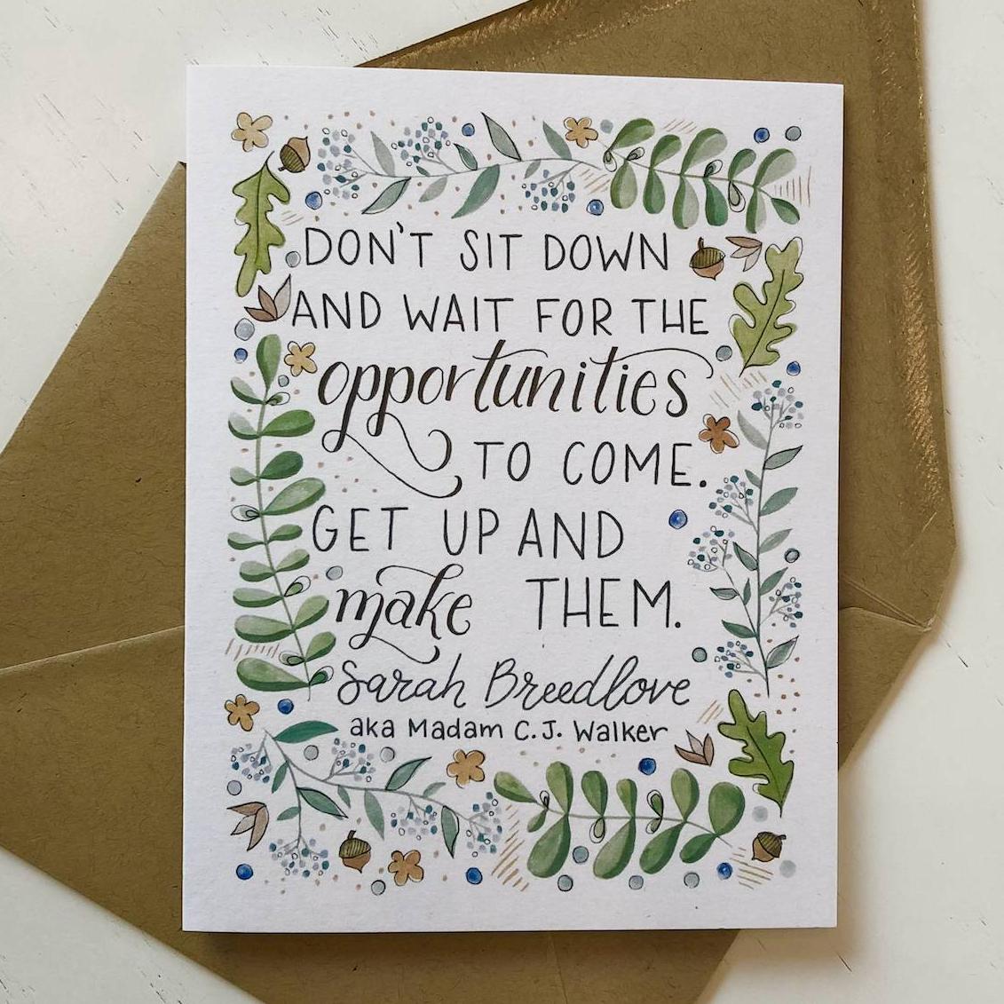 "Sarah Breedlove (aka Madam C. J. Walker) ""Don't sit down..."" Greeting Card (green)"